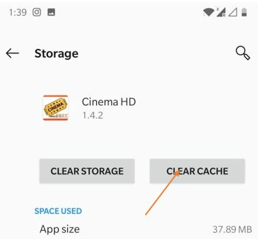 clear cache of the app