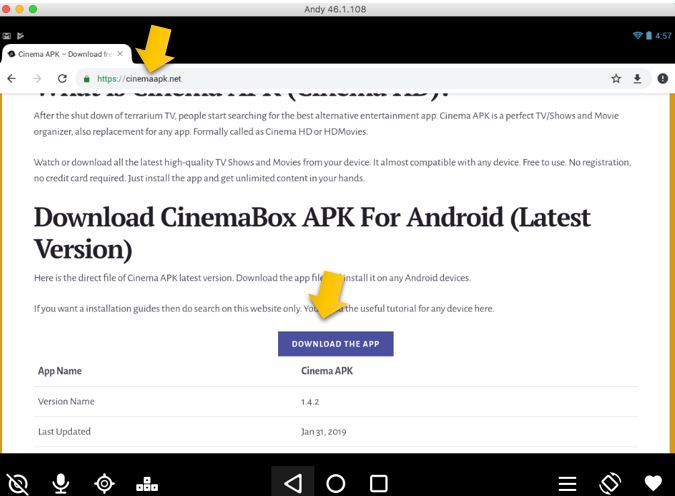Cinema APK Donwload page