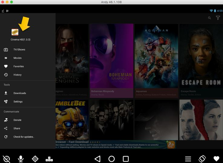 Cinema APK for PC(Mac OS) Using Andy OS Emulator